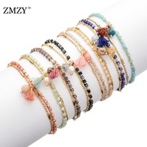 8PCS Mixed Lady Fashion Charm Bracelet Candy Square Crystal Gold Chain B... - $49.76