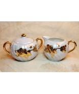 Vintage Del Coronado Nasco Japan Lusterware Sugar Bowl Lid Creamer Set - $29.68