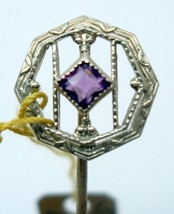 10K Gold Art Deco Stick Pin with Genuine Natural Amethyst (#J2689) - $125.00