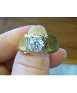 Vintage LIND 14K Yellow GOLD HGE MEN'S CZ Cubic Zirconia Size 12 RETRO Cool - $19.99