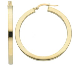 18K YELLOW GOLD CIRCLE EARRINGS DIAMETER 30 MM WITH SQUARE TUBE   MADE IN ITALY image 1