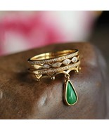 Women 18K Gold Ring Pendant Emerald Jewelry Wedding Party Ring Size 5-11... - $25.99