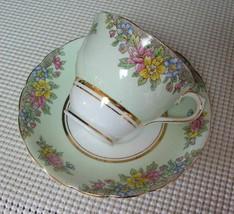 Vint COLCLOUGH China TEA CUP & SAUCER Pale Green Band Floral Bouquet Englan - $16.48