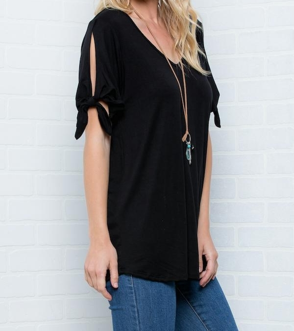 Cold Shoulder Top, Knotted Short Sleeves V Neck, Plus Size Tunics, Black