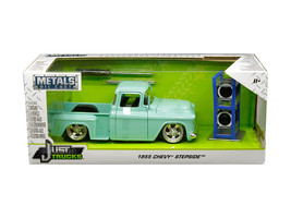 "1955 Chevrolet Stepside Pickup Truck Light Turquoise with Extra Wheels ""Just Tr - $42.22"