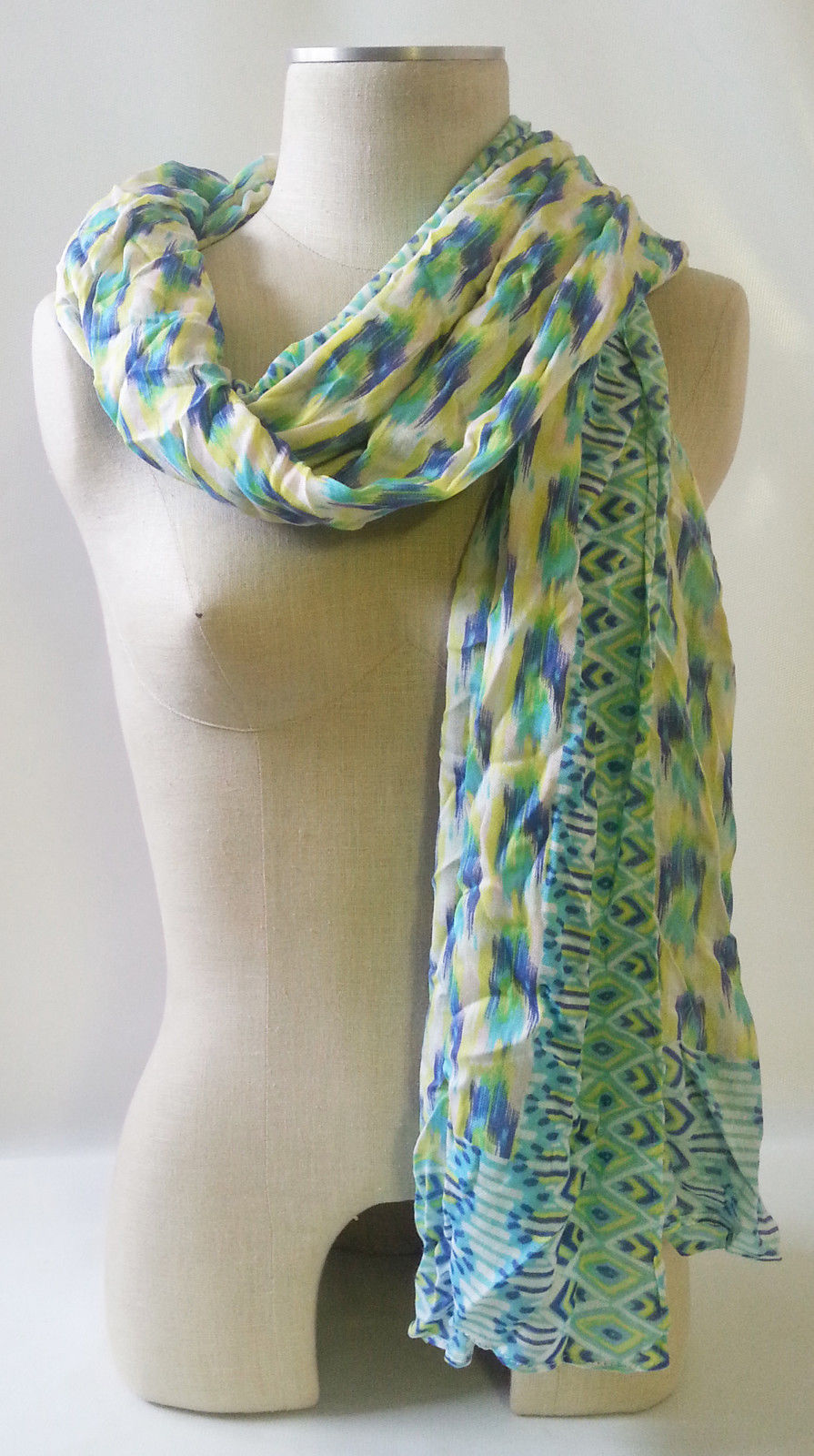 "STELLA & DOT GENUINE Union Square Scarf PASTEL IKAT Med Weight Viscose 38""x70"""