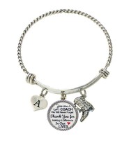 Custom Drill Team Coach Thank You Gift Wire Bracelet Jewelry Choose Initial - $15.99