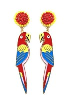 WOMEN'S FASHION JEWELRY SEED BEAD PARROT BIRD POST EARRINGS NEW NEVER USED - $3.90