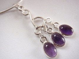 Amethyst 3-Gem 925 Sterling Silver Necklace New India - $19.76