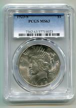 1923-S PEACE SILVER DOLLAR PCGS MS63 NICE STRIKE FOR 1923-S PREMIUM QUAL... - $130.00