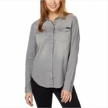 Calvin Klein Women Snap Button Denim Shirt, Aleesa Grey SIZE M - $16.14