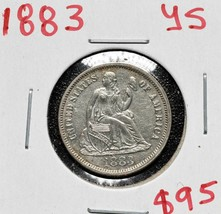 1883 Silver Seated Dime 10¢ Coin Lot# A 588