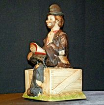Porcelain Clown with Bisque finish resting on a Bench AA-191925 Collectible image 3