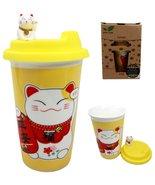 Atlantic Collectibles Lucky Cat Maneki Neko Ceramic Tall Drink Mug Cup W... - $14.99
