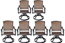 Wicker swivel rocker patio chairs set of 6 outdoor cast aluminum furnitu... - $1,628.55