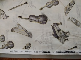 1/2 yd Music/instruments on ivory quilt fabric -free shipping image 4