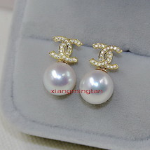 CC Top Quality 14K GOLD 11-12MM NATURAL real SOUTH SEA white PEARL EARRI... - $589.00