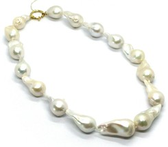 """18K YELLOW GOLD BIG 25/30 mm OVAL BAROQUE WHITE PEARLS NECKLACE, 45cm 18"""" image 1"""
