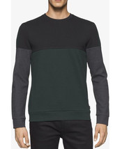 New Calvin Klein Colorblocked Ponte Shirt Black Green Cotton Blend Sweatshirt - $27.99