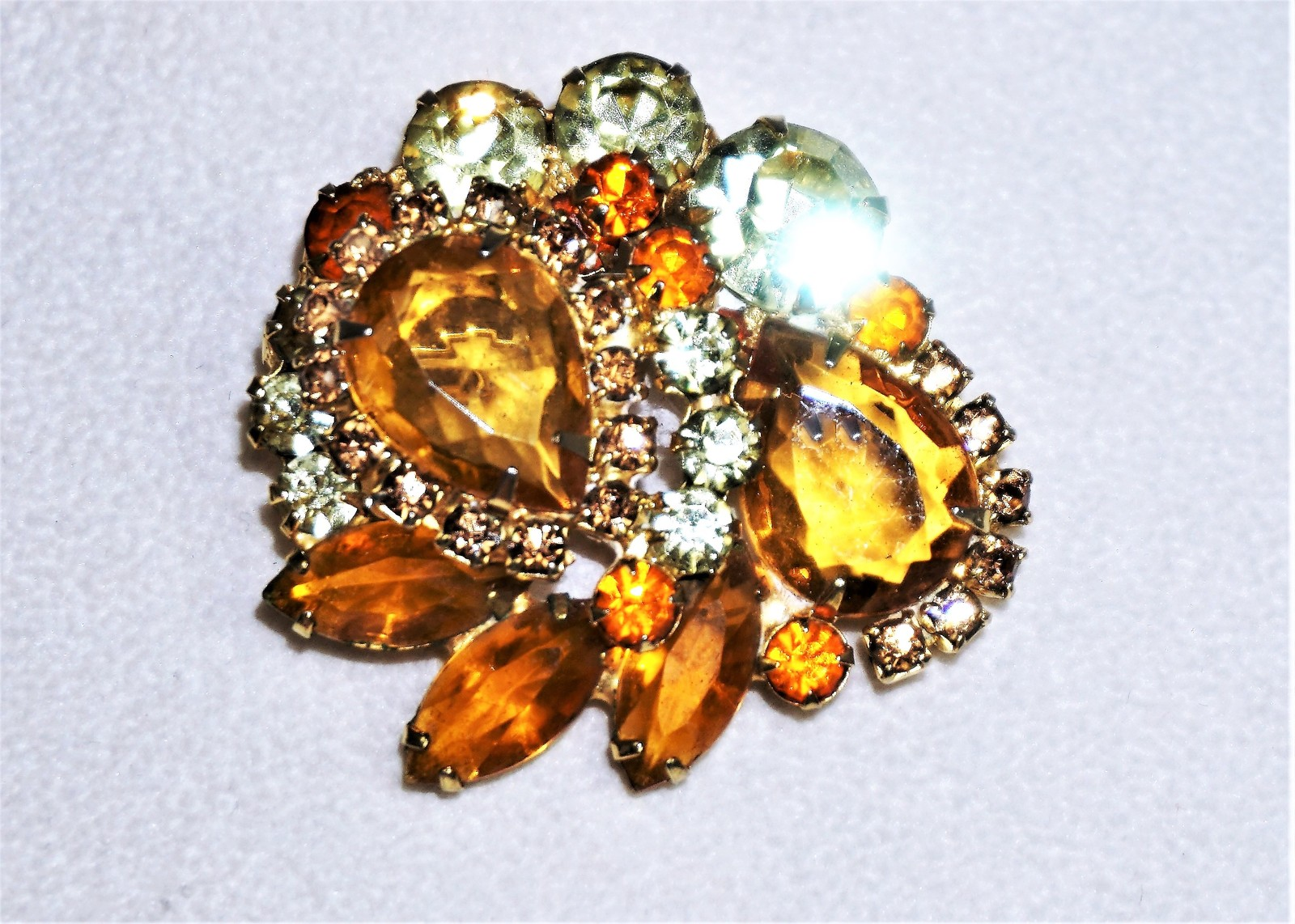 Primary image for Juliana D&E Rhinestone Brooch Topaz, Clear, Citrine, Open Back