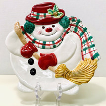 Fitz And Floyd Essentials Plaid Christmas Snowman Canape Wall Plate - $10.99