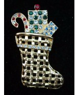 EISENBERG ICE CHRISTMAS STOCKING PIN BROOCH BRIGHT AND COLORFUL MINT - $34.95