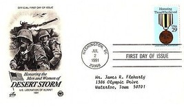 July 2, 1991 First Day of Issue, Postal Society Cover, Desert Storm, Kuwait - $1.09