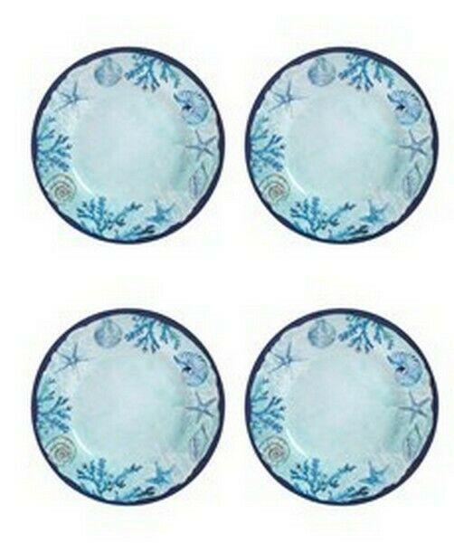 "Blue Starfish and Shells Melamine 8.5"" Salad Dessert Appetizer Plates Set of 4"