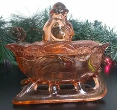 Artmark Chicago Rose Glass Santa w/ Sleigh Covered Candy Dish Bowl w/ Bo... - $29.35