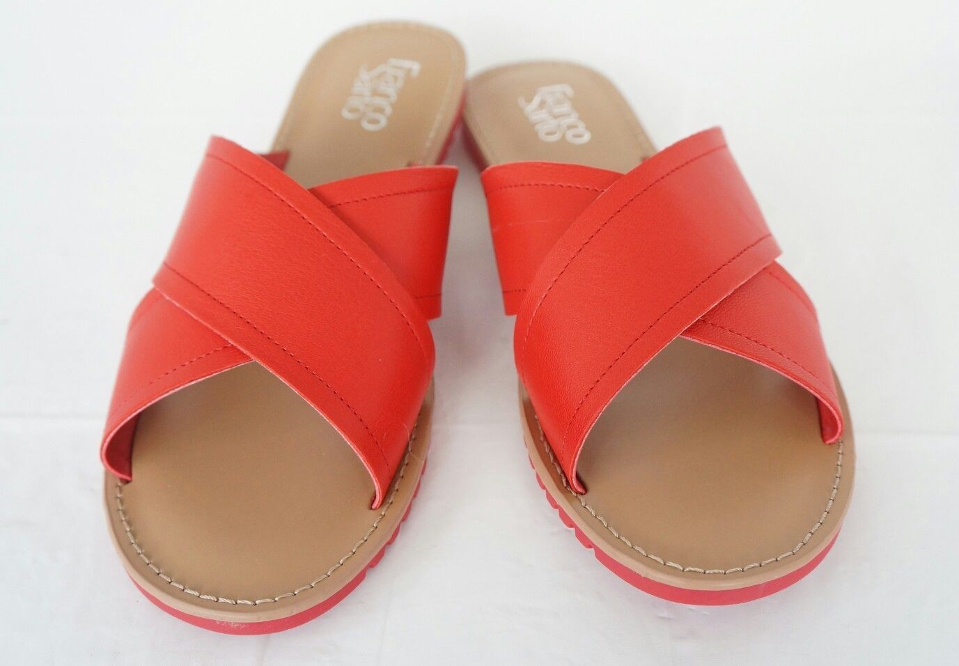 Franco Sarto Womens L-Quentin Red Slides Size 6