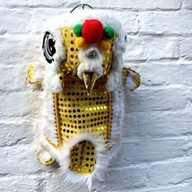 NACOCO Cute Dance Lion Pet Costume with Yellow Sequins New Year Cat Dog ... - £17.55 GBP