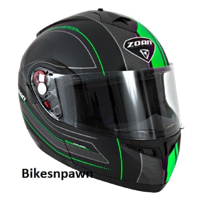 New XS Zoan Optimus Black & Green Raceline Modular Motorcycle Helmet 138-153
