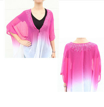New OS STEVE MADDEN Pink Ombre Chiffon Beach Cover Up Kimono Top Sequin ... - €8,26 EUR