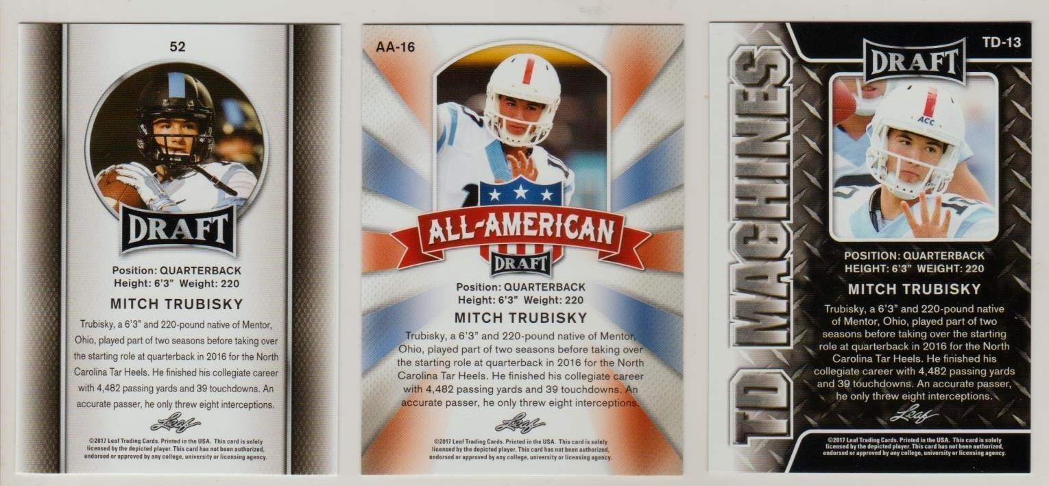 "MITCH TRUBISKY 2017 ""1ST EVER PRINTED"" LEAF DRAFT ""3"" CARD ROOKIE LOT!"