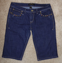 Rocawear Crop Jeans Capris Sz 11 Studded Pockets Long Shorts Stretch - $19.43