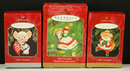 3 Hallmark Ornaments FELIZ NAVIDAD Santa Mouse Chili Pepper Maracas New ... - $21.99