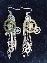 Vintage Silver Chain Clock Watch Parts Rhinestone Dangle Earrings - £14.33 GBP