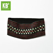 Red Black Aztec Dotted Design Knitted Headband for Fall & Winter - $13.09