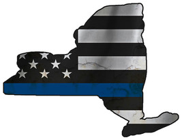 Thin Blue Line Police State of  New York Laser CutOut Metal Sign 17Wx13H - $25.74