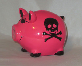Skull Piggy Bank Pink Black Crossbones Eye Patch Coin New Punk Rock Goth - $15.83