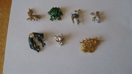 7 vintage Animal Pins. No Damage. Some with stones. - £7.55 GBP