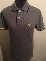 American Eagle Outfitters Classic Fit Men's Gray & Neon Green Polo Shirt XS - $10.45