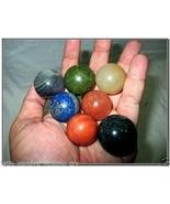 Jet Fantastic Chakra Gemstone Round Ball Sphere Set Crystal Therapy Geom... - $42.74