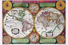 Stereographic World Map of the Eastern & Western Hemispheres by Jean Boisseau -  - $19.99+