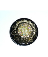 Gold Toned Large Sunflower Metal Button w/ Czech Crystal AB Rhinestones ... - $17.32