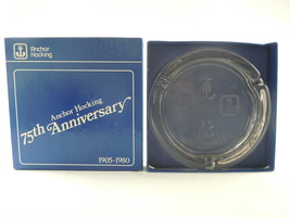 Anchor Hocking 75th Anniversary 1905-1980 Glass Cigarette Ashtray With Box - $11.87