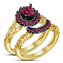 Halo Round Cut Pink Sapphire 14k Yellow Gold Plated 925 Silver Bridal Ring Set - $87.15