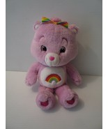 "Pink 14"" Care Bears Plush Cheer Bear Stuffed Animal Rainbow Toy 2007 - $12.82"