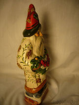 Vaillancourt Folk Art White Brocaded Santa with Red Apple Swag Signed  image 4