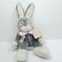 "Russ Berrie Sundance Easter Bunny Rabbit Plush 13"" Poseable Ears Gray White - $15.83"